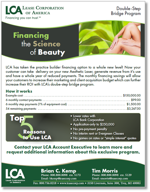 Step program financing from LCA