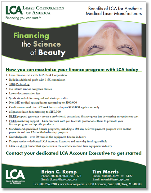 Benefits of using LCA for aesthetic device financing and leasing